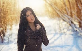Картинка зима, девушка, снег