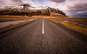 Картинка дорога, снег, горы, Исландия, Auster-Skaftafellssysla, South Iceland, Scandinavia