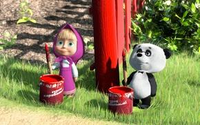 Обои анимация, мультик, маша и медведь