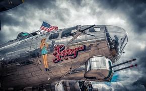 Картинка небо, девушка, тучи, металл, самолет, рисунок, флаг, сша