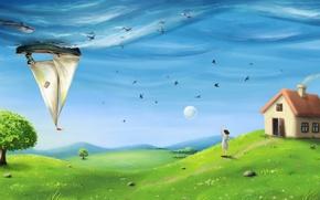 Картинка море, поле, небо, трава, девушка, рыбы, птицы, дельфин, дом, дерево, холмы, сюрреализм, луна, корабль, парусник, …
