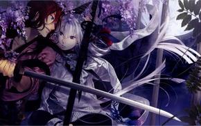 Картинка ночь, катана, сад, кимоно, поединок, visual novel, ken ga kimi, saneaki kuroba, enishi