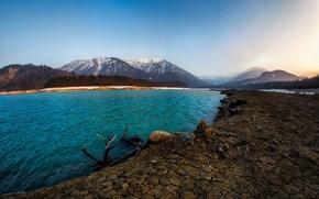 Картинка вода, снег, пейзаж, горы, природа, озеро, Альпы