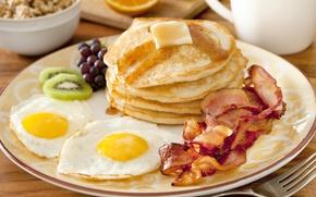 Картинка завтрак, фрукты, яичница, fruit, pancakes, оладьи, Breakfast, scrambled eggs
