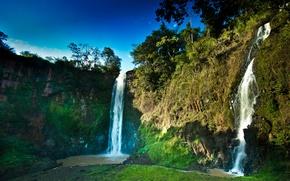 Картинка небо, природа, скалы, водопады, ручьи