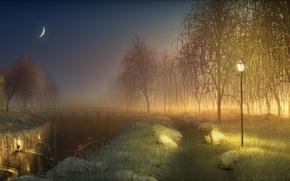 Обои свет, мостик, деревья, часовня, месяц, ночь, фонари, дорожка, ров