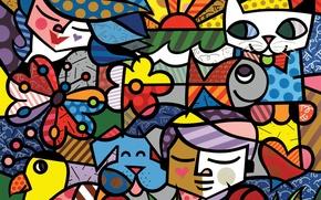 Картинка кошка, цвета, лицо, бабочка, рыбка, собака, формы, текстуры, изображения