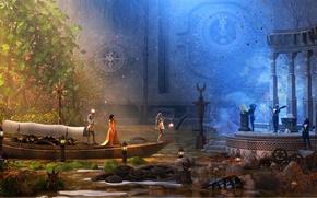 Картинка вода, девушка, дерево, лодка, часы, встреча, механизм, фонарь, between day and night, in the river …