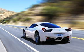 Картинка Ferrari, 458, Speed, White, Italia, Road, Supercar, Rear