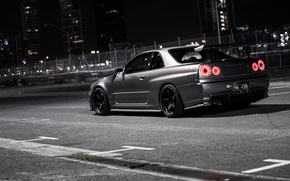 Обои ниссан, city, город, nissan, скайлайн, ночь, night, skyline.gtr