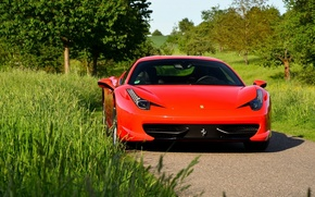 Обои Ferrari 458, red, logo
