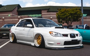 Картинка white, wheels, subaru, japan, wrx, impreza, jdm, tuning, front, sti, face