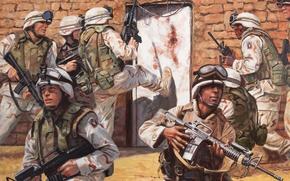 Картинка оружие, рисунок, дверь, арт, солдаты, США, захват, экипировка, операция, спецназ, Афганистан, саман