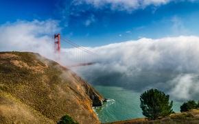 Картинка облака, мост, туман, Калифорния, Сан-Франциско, золотые ворота