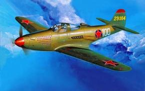 Картинка aircraft, war, art, painting, aviation, drawing, ww2, russian fighter, p-39 aircobra, american airplane