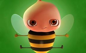 Обои Пчела, зеленый