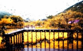 Картинка осень, стекло, капли, дождь