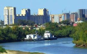 Картинка лето, город, стройка, Река, ОМСК, пароходы, Сибирь