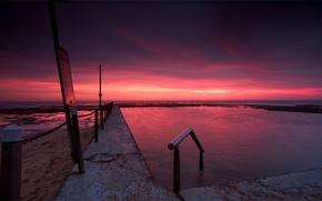 Картинка пляж, небо, закат, тучи, вечер, Австралия, сумерки