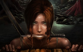 Картинка глаза, взгляд, вода, капли, лицо, арт, нож, лара крофт, Lara Croft, Frankiew Yip, Tomb raider
