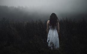 Картинка поле, лес, девушка, туман, настроение, белое, волосы, спина, платье, депрессия, обои от lolita777, пмс