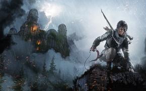 Картинка Девушка, Взгляд, Лук, Храм, Лара Крофт, Арт, Lara Croft, Rise of the: Tomb Raider, Ледоруб