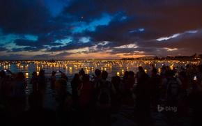 Картинка ночь, люди, Гавайи, фонарики, Ala Moana Beach Park, Оаху