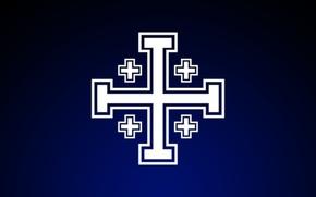 Картинка крестоносцы, Иисус Христос, Бог, христианство, тёмно-синий фон, Иерусалимский крест