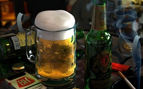 Обои сигарета, стакан, Пиво, бутылка