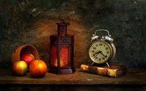 Картинка яблоки, часы, фонарь, книга, The morning after