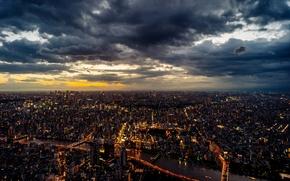 Картинка Tokyo, Japan, sunset, clouded