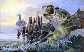 Картинка прыжок, лодка, рыбалка, рыба, рыбак, приманка, спиннинг, Trouble