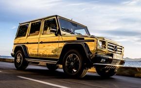 Картинка джип, Mercedes-Benz, спец.версия, золотой, Мерседес, передок, небо, внедорожник, Festival de Cannes, G-Klasse