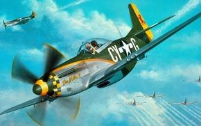 Картинка Mustang, истребители, P-51, North American, бомбордировщики, b-17