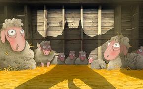 Обои арт, овцы, сено, волк, тень, амбар, вилы, опасность