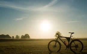 Картинка природа, велосипед, утро, привал, mountain bike