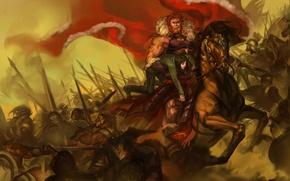 Картинка конь, армия, воин, арт, битва, rider, знамя, shiel, fate/stay night, ionioi hetairoi, waver velvet, fate/zero