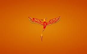 Обои минимализм, феникс, птица, fenix, phoenix, красная, красноватый фон