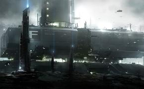 Картинка люди, планета, корабли, база, колония, space elevator