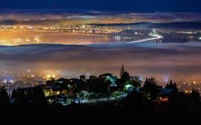 Картинка мост, туман, город, огни, ночь, Беркли, Калифорния, залив Сан-Фрациско, США