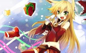 Картинка новый год, арт, лиса, костюм, девочка, хвост, подарки, уши, мешок, лисица