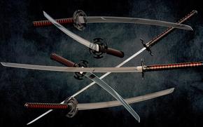 Картинка wallpaper, metal, red, sword, black, weapon, background, katana, blade, samurai, asian, japanese, oriental, asiatic, Wakizashi, …