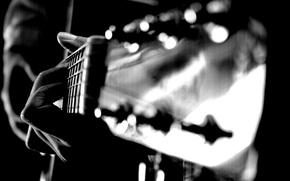 Обои гитара, струны, пальцы, рука, макро