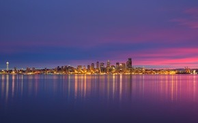 Картинка lights, USA, Space Needle, United States, skyline, night, sunrise, reflection, buildings, downtown, skyscrapers, cityscape, seattle, …