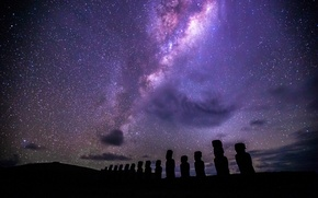 Картинка Easter Island, structure & formation, Moai, under the Milky Way, Ahu Tongariki