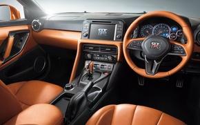 Картинка интерьер, ниссан, торпедо, панель, Nissan, салон, GT-R, руль, R35