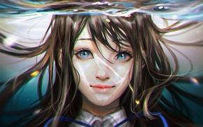 Картинка вода, девушка, под водой, anime, art, Amanchu, delia740, Futaba Ooki