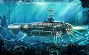 Картинка nautilus, steampunk, акварель, подводная лодка, wallpaper., живопись, карандаш, флот, океан путешествия, гуашь, двадцать тысяч лье ...
