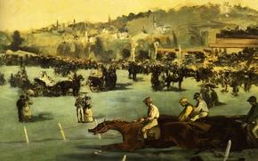 Обои пейзаж, картина, лошади, жокей, жанровая, Эдуард Мане, Скачки в Булонском Лесу