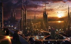 Обои мегаполис, будущее, город, арт
